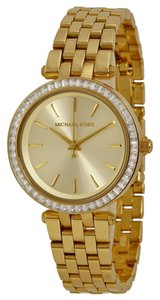 Michael Kors Gold tone Crystal Pave Bezel Designer Fashion Watch