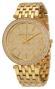 Michael Kors Crystal and Micro MK Logo Pave Dial Gold tone Designer Ladies Watch