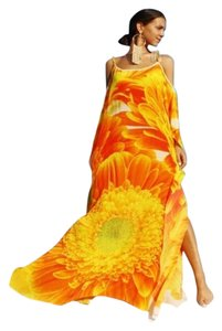 Orange Maxi Dress by Victoria Luxury Silk Kaftan Crystal 100%