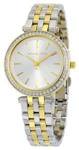 Michael Kors Two Tone Crystal Bezel Classic Ladies Designer Watch