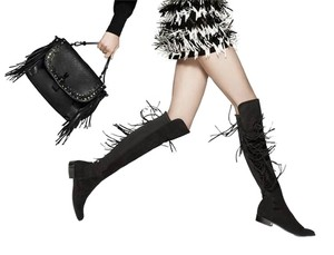 Stuart Weitzman Mane 5050 With Fringe Over The Knee Mane Suede BLACK Boots