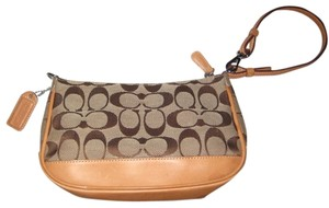 Coach Signature Leather Canvis Wristlet in Tan