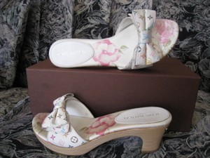 Louis Vuitton Louis Vuitton Rare Mint Limited Edition, One Owner, Monogram Slippers - Owner White / Multicolor, Rainbow, Floral Mules