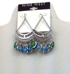 Nine West Nine West Silver Chandelier Earrings w Green & Blue Beads 60267201 New