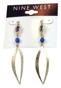 Nine West Nine West Gold Linear Drop Earrings w Sapphire Blue Accents 60338321 New