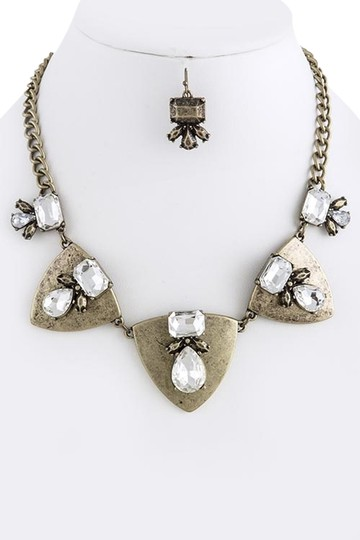 Unknown Vintage Art Deco Inspired Burnished Gold and Crystal Necklace Set