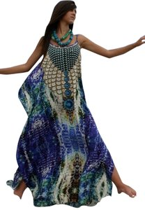 Royal Python. Maxi Dress by Victoria Luxury Silk Kaftan Blue