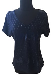 Bobeau Sequins Cold Shoulder Top Blue