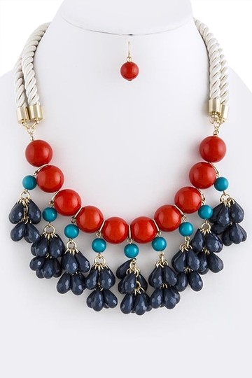 Unknown Multi-Color Faceted Teardrop Cluster Rope Statement Necklace Setcccc