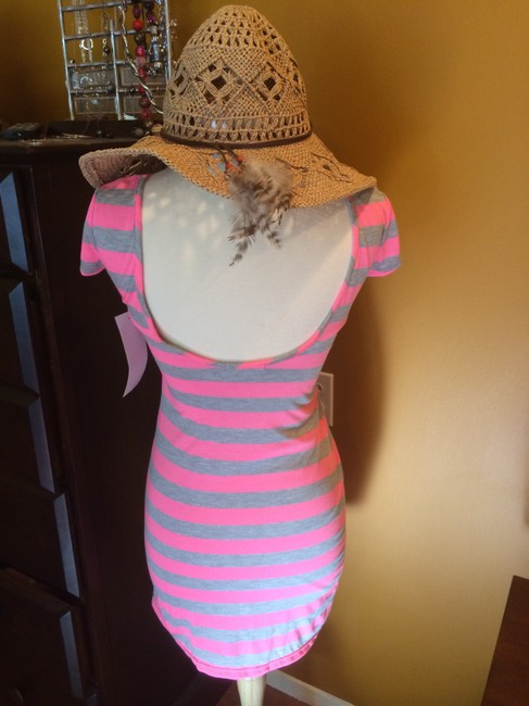 Velvet Torch short dress Pink / Gray Striped on Tradesy