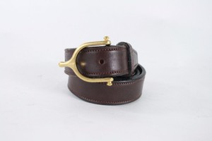 Other Tory Leather 1 English Bridle Leather Belt Havana Brown Brass Spur