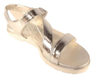 Kate Spade Leather Open Toe Silver Sandals