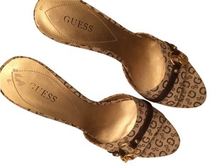 Guess By Marciano Camel Leather brown Sandals
