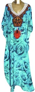 Turquoise blue Maxi Dress by Victoria Luxury Silk Kaftan Kaftan