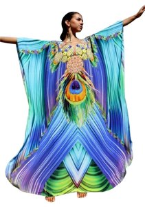 Tropical Turquoise. Maxi Dress by Victoria Luxury Silk Kaftan Crystal 100%