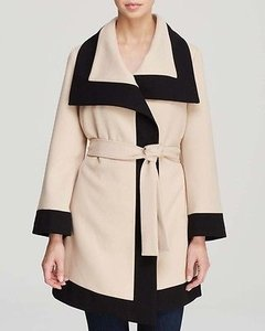 Dawn Levy Alissa D928242 Womens Black Transitory Wrap Coat Beige Jacket