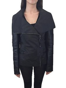 Mackage Lindsay Womens Leather Poplin Assymetric Moto Bker Coat Black Jacket