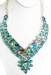Abalone Shell & Swiss Blue Topaz .925 Sterling Silver Necklace