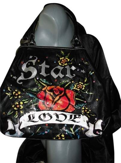 Preload https://img-static.tradesy.com/item/11639563/star-tatoo-love-graffitti-rose-painting-fashionista-style-boutique-3-black-red-shoulder-bag-0-1-540-540.jpg