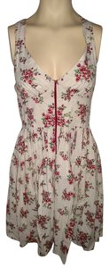 Fire short dress Cream Rose Print on Tradesy