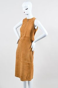 The Row Sugar Cane Tan Suede Zipper Zip Stroner Sl Shift Dress