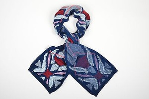 Barrie Pace Barrie Navy Aqua Red Cashmere Viber Argyle Oblong Scarf