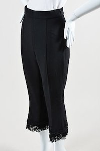 Andrew Gn Gn Wool Crepe Creased Slub Fringe Cropped Trousers Capri/Cropped Pants Black