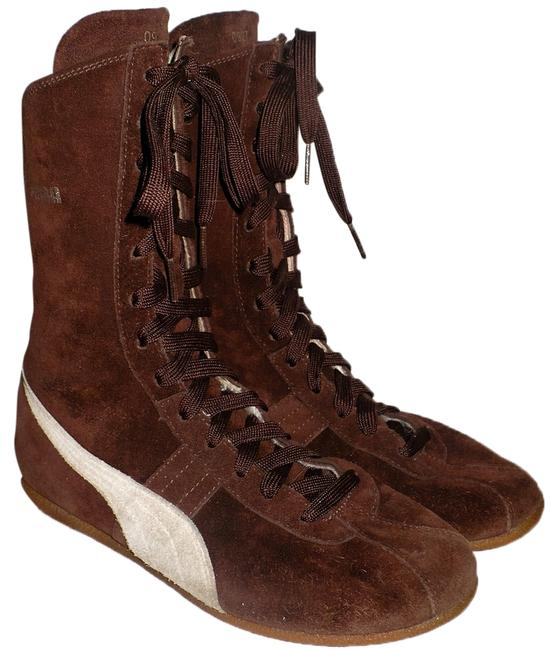 """Item - Brown Suede 2004 Olympics Commemorative Collection """"Ring"""" Boxing Boots/Booties Size US 7.5 Regular (M, B)"""