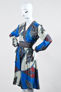 Etro Blue Multicolor Silk Dress