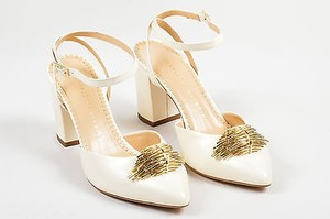 Charlotte Olympia Off Leather Eileen Ankle Wrap White Pumps
