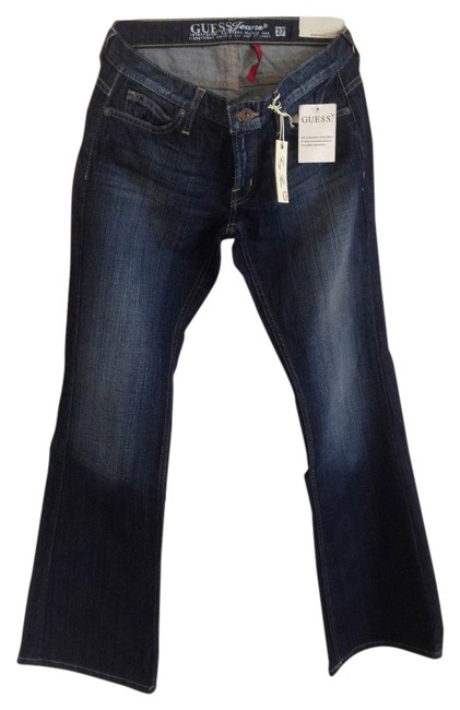 Guess Slim Low-rise Bottom Short/Petite Length Flare Leg Jeans-Distressed