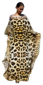 Tiger Leopard. Maxi Dress by Victoria Luxury Silk Kaftan Kaftan