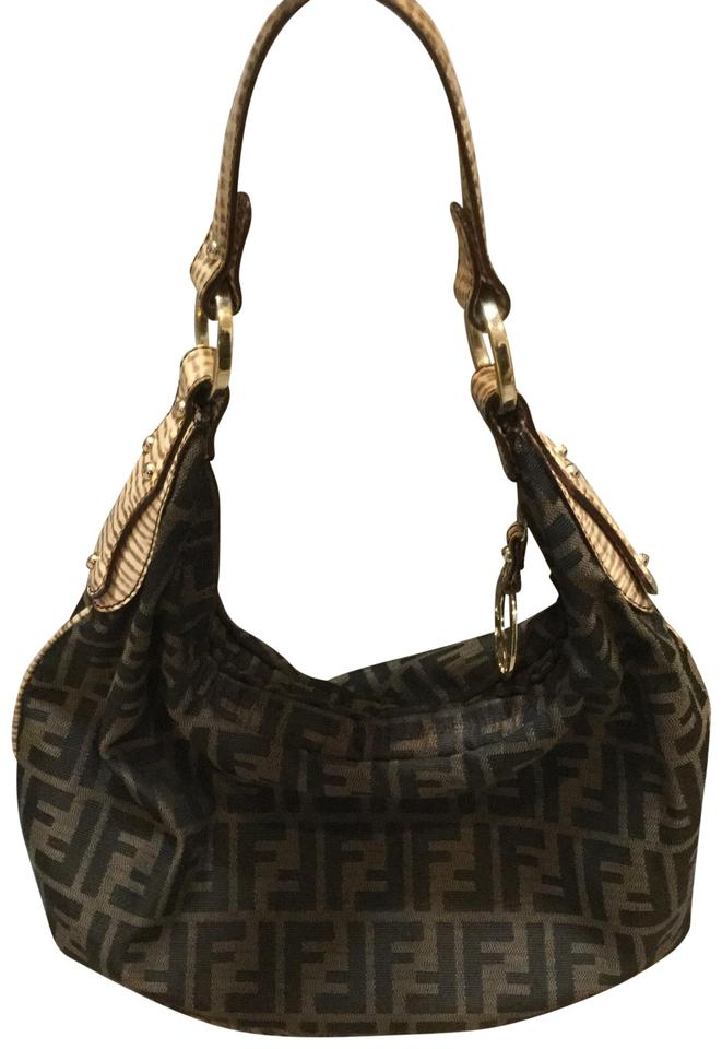 Fendi Zucca Print Brown Black Hobo Chef with Dust Black and Brown ... 9b1d4e2c443f0