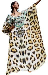 African Charm. Maxi Dress by Victoria Luxury Silk Kaftan Crystal 100%