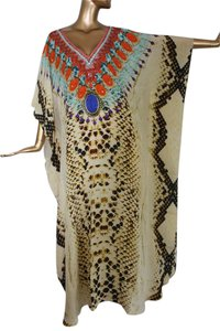 Cream Python. Maxi Dress by Victoria Luxury Silk Kaftan Kaftan