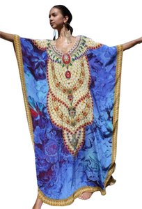Royal Blue. Maxi Dress by Victoria Luxury Silk Kaftan Crystal 100%