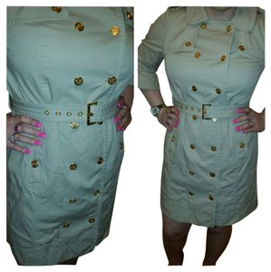 Juicy Couture Khaki Trech Crown Gold Buttons Trench Coat
