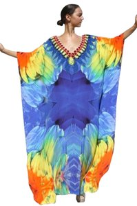 Tropical Plumage. Maxi Dress by Victoria Luxury Silk Kaftan Crystal 100%