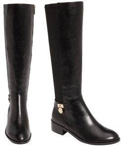 Michael Kors Riding Stretch Leather Tall Mk Logo Charm Black Boots