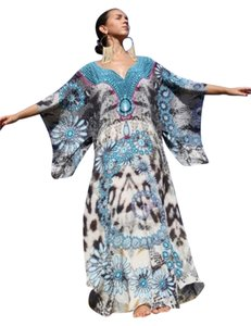 Bijoux Blue. Maxi Dress by Victoria Luxury Silk Kaftan Blue