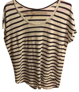 Joie Top White and Navy Stripes