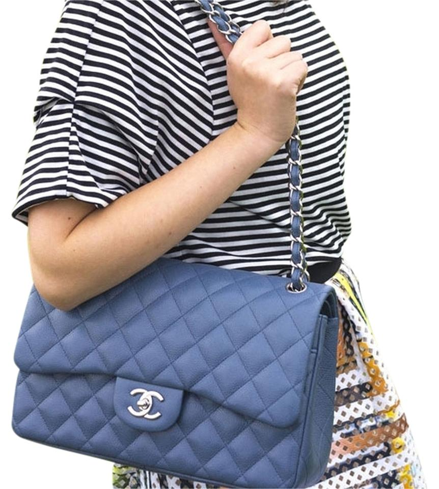d9d49d0dfbfc Chanel Classic Jumbo with Silver Hardware Blue Jean Caviar Leather ...