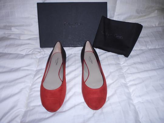 Calvin Klein Collection Alba Ii Made In Italy Red Flats Image 1