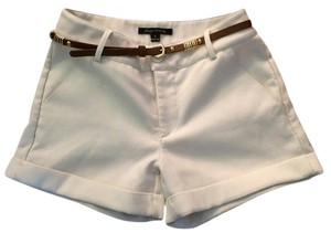 Foreign Exchange Roll Up Cotton White Ivory Belted Belt Cognac Skinny Belt Cuffed Shorts