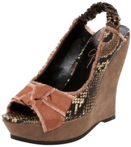 Jessica Simpson Animal Print Feminine Bow Bow Peep Toe Wedge Wedge Heel Dark Neutral Sandals