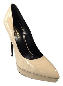 Saint Laurent Ysl Patent Platform Nude Pumps