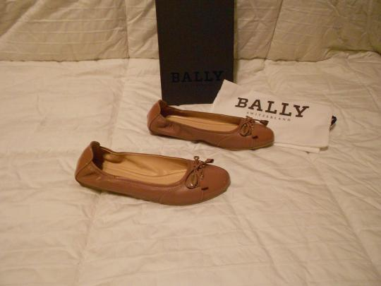 Bally Soft Leather Mauve Family Contrast Stitching Comfortable Made In Italy Pink Flats Image 1