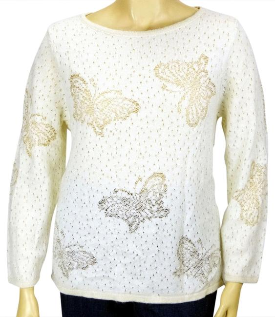 Preload https://img-static.tradesy.com/item/1164416/style-and-co-ivory-w-gold-lurex-butterflies-acrylic-blend-shimmers-sweaterpullover-size-26-plus-3x-0-0-650-650.jpg