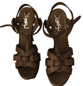 Saint Laurent Ysl Tribute Yves Party Chic Sandal High Heel Textured Leather Taupe Platforms