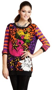 Betsey Johnson Betsey Be A Star Leopard Stripe Striped Orange Sweater